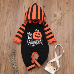 Baby Boy Halloween Style Pumpkin Print Hooded Long-sleeve Jumpsuit