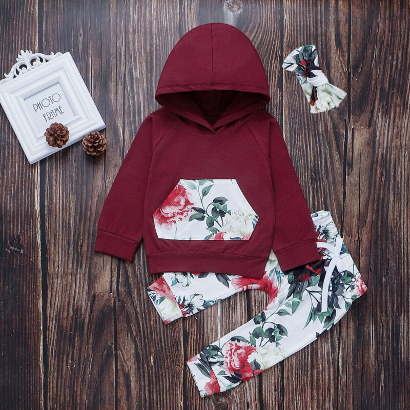 Baby / Toddler Floral Pocket Solid Long-sleeve Hoodie and Bow Pants Set