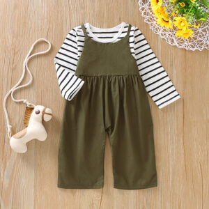 Baby / Toddler Striped Long-sleeve Tee and Solid Overalls Set