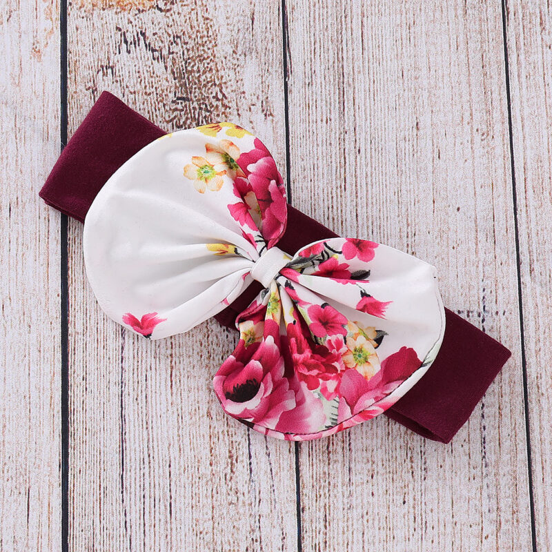 3-piece Baby Girl HELLO Print Floral Long-sleeve Hoodie and Adorable with Headband Set