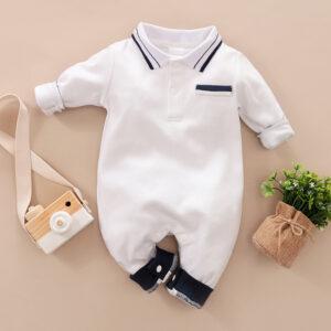 Baby Boy Newborn Cotton Style Gentleman Polo Collar Solid Long-sleeve Jumpsuit