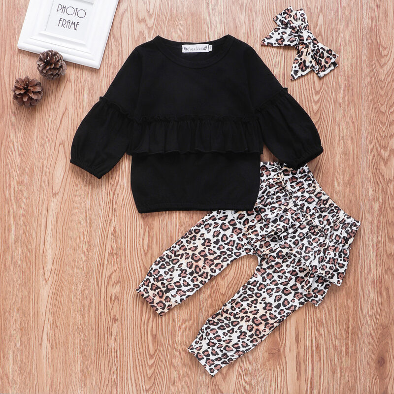 3-piece Baby Girl Solid Ruffled Long-sleeve Top and Leopard Print Pants with Headband Set