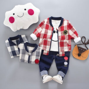 Baby and Toddler Boys 3-piece Smiling Face Tee Plaid Coat and Pants