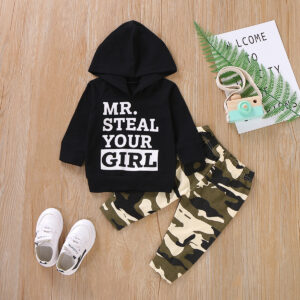 Baby Boy MR STEAL YOUR GIRL Print Hoodie and Camouflage Pants Set