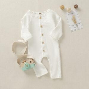 Baby Boy / Girl Solid Cardigan Design Long-sleeve Jumpsuit