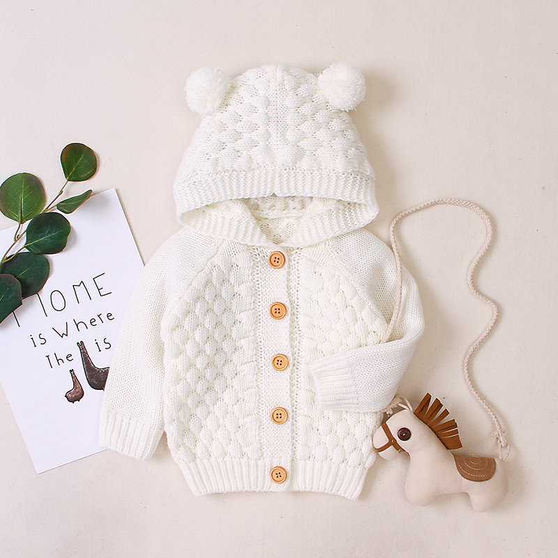 Baby Boy / Girl Adorable Pompon Deer Solid Knitted Coat (No Shoes)