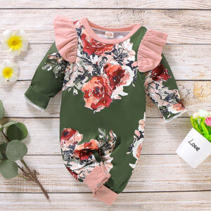 Beautiful Floral Print Ruffled Long-sleeve Jumpsuit for Baby
