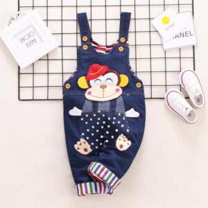 Trendy Monkey Applique Denim Overalls for Baby
