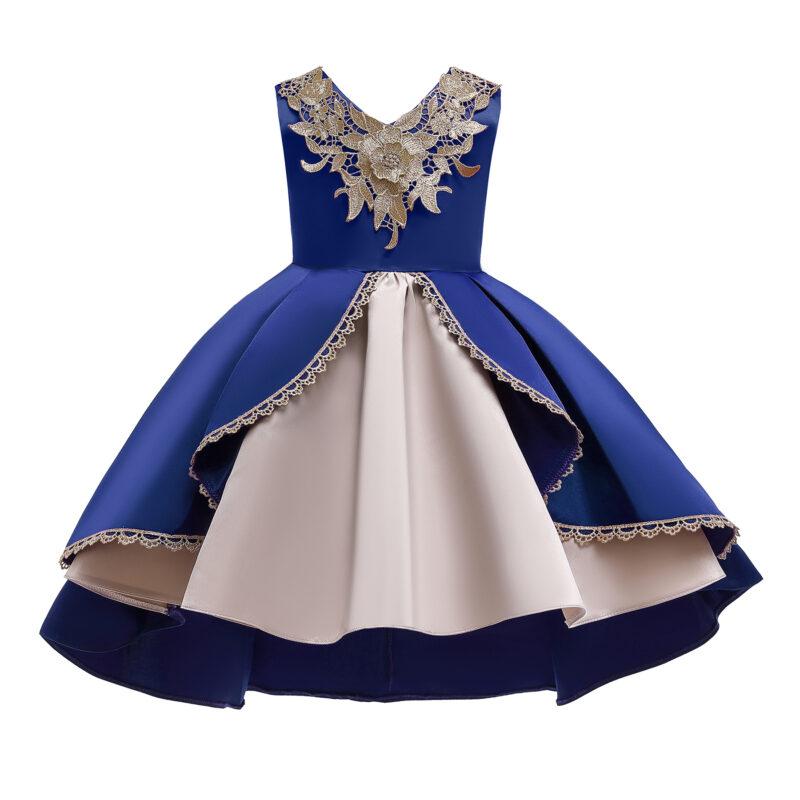 Baby / Toddler Girl Colorblock Lace Flower Sleeveless Irregular Hem Princess Party Dress
