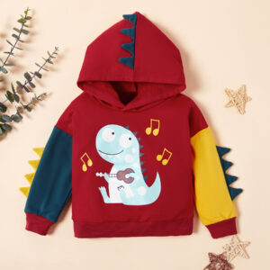 Adorable Dino Print Hooded Pullover for Toddler Boy