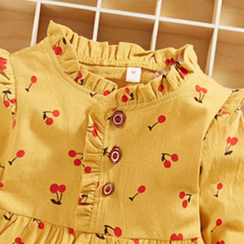 Baby / Toddler Cherry Allover Print Ruffled Collar Dress