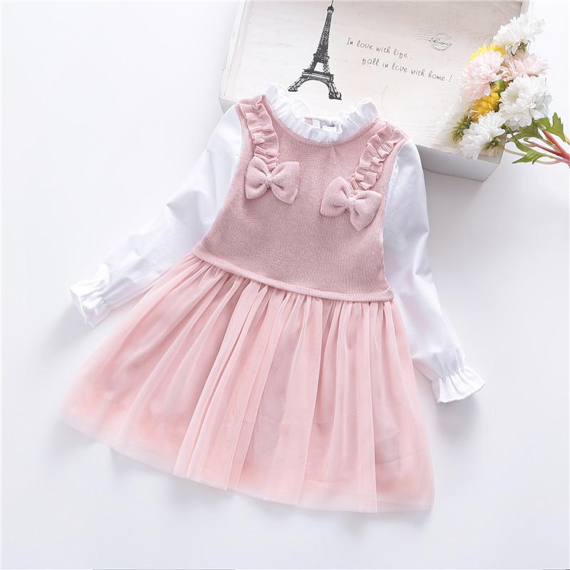 Baby / Toddler Flounce Collar Splice Tutu Dress