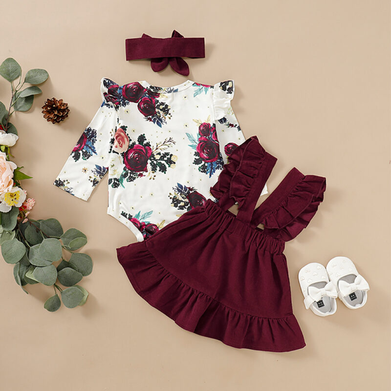 3-piece Baby / Toddler Floral Print Bodysuit, Suspender Skirt and Headband Set