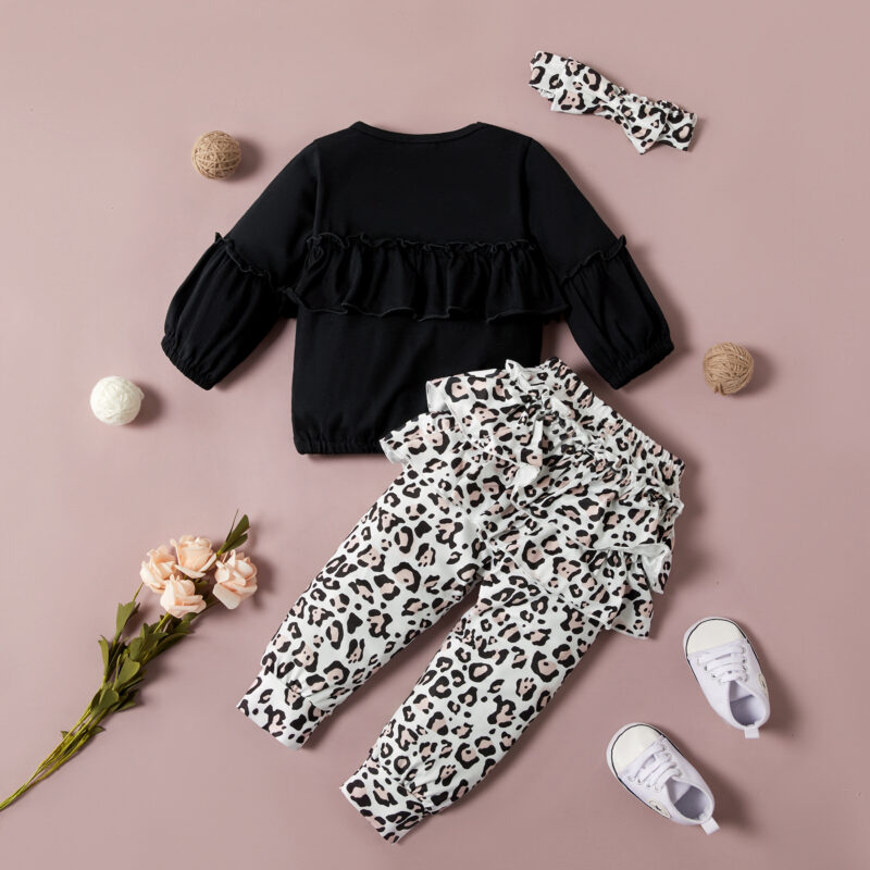 Baby Flounced Solid Top and Leopard Pants with Headband Set