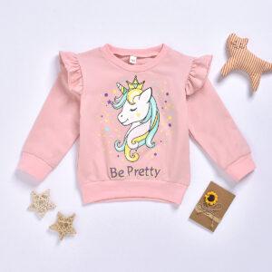 Baby / Toddler Girl Pretty Unicorn Print Flutter-sleeve Pullover