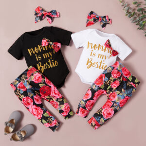 Baby 3-piece Letter Print Bodysuit and Allover Pants with Headband Set