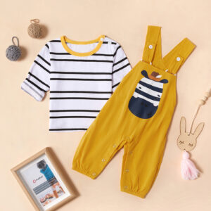 Baby Striped Top and Zebra Print Overalls Set