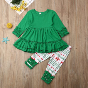 Baby / Toddler Girl Flounced Dress and Deer Printed Pants Set