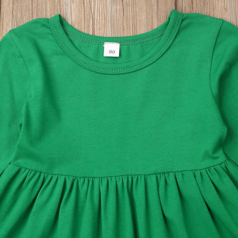 Baby / Toddler Girl Flounced Dress and Deer Printed Pants Set