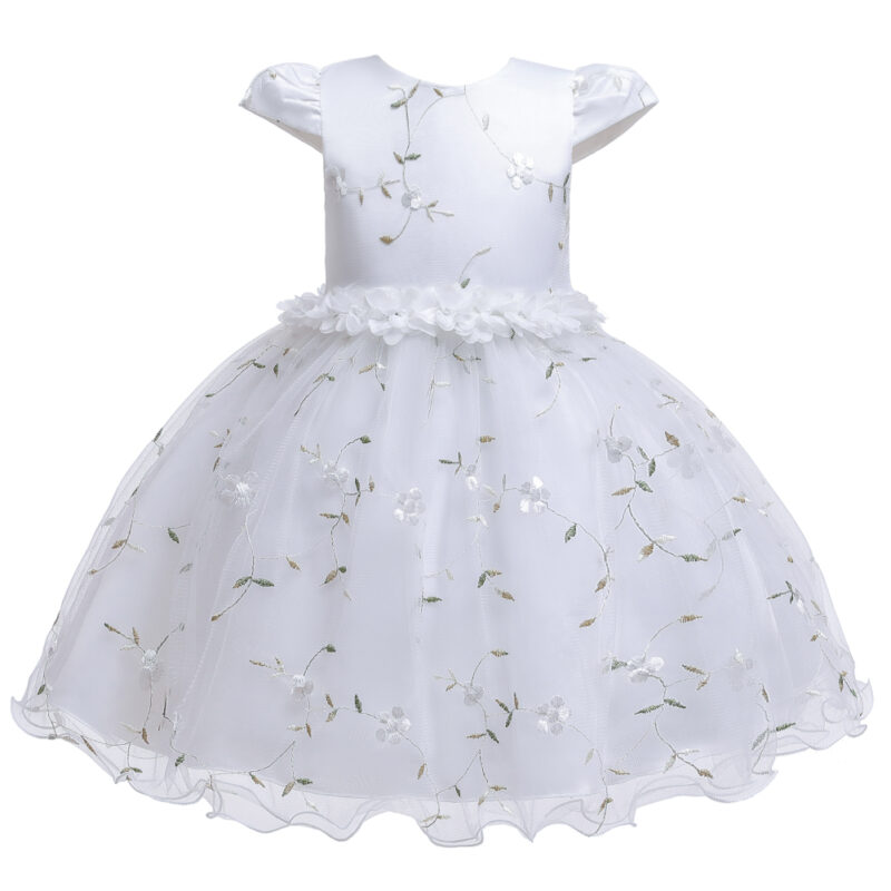 Baby / Toddler Girl Pretty Floral Embroidery Solid Tulle Party Dress