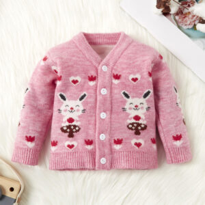 Baby / Toddler Girl Sweet Bunny Print Warm Knitwear