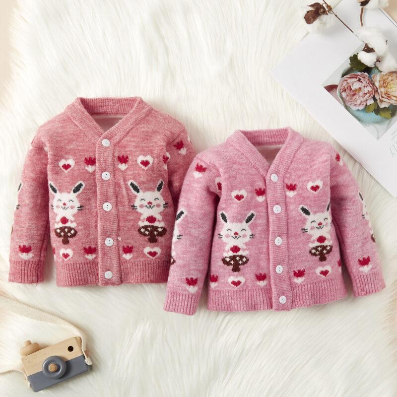 Baby / Toddler Girl Sweet Bunny Print Warm Knitwear