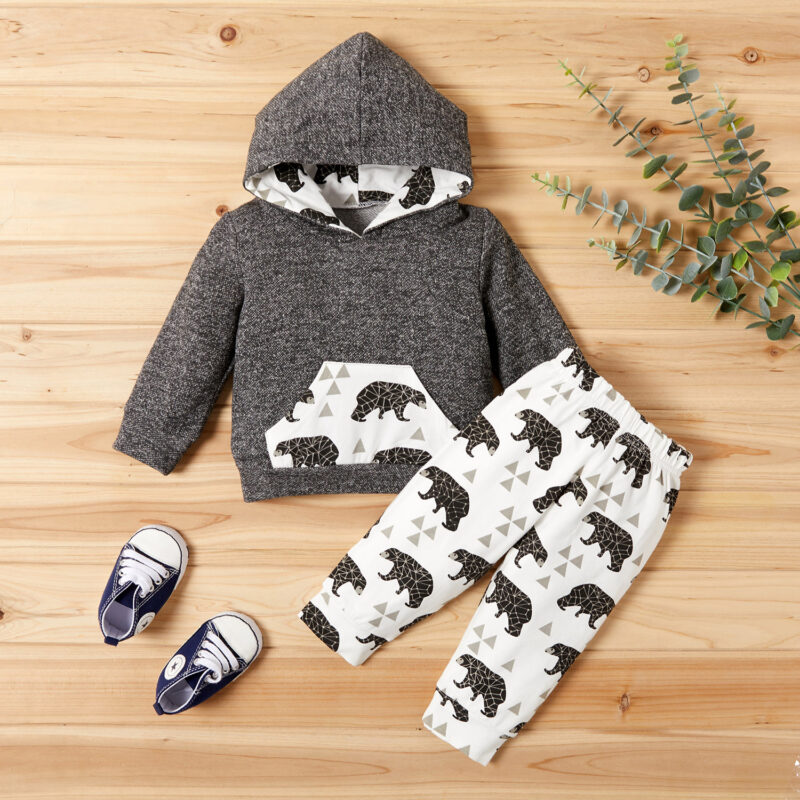 Cute Bear Print Hoodie and Pants Set For Baby