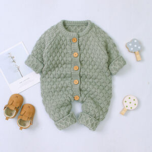 Baby Boy / Girl Solid Knitted Design Long-sleeve Jumpsuit