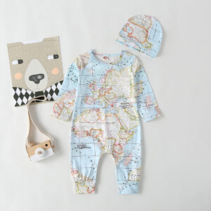 Baby Boy Map Style Long-sleeve Jumpsuit and Hat