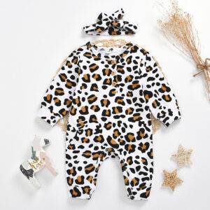 Baby Boy / Girl Leopard Style Long-sleeve Jumpsuit and Headband