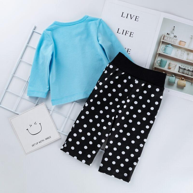 Baby Pretty Bear Print Top and Polka Dots Set