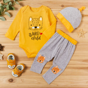 3-piece Baby WILD CHILD Tiger Print Romper and Pants with Hat Set