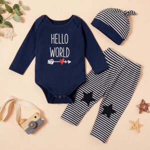3-piece Baby HELLO WORLD Print Bodysuit and Striped Pants with Hat Set