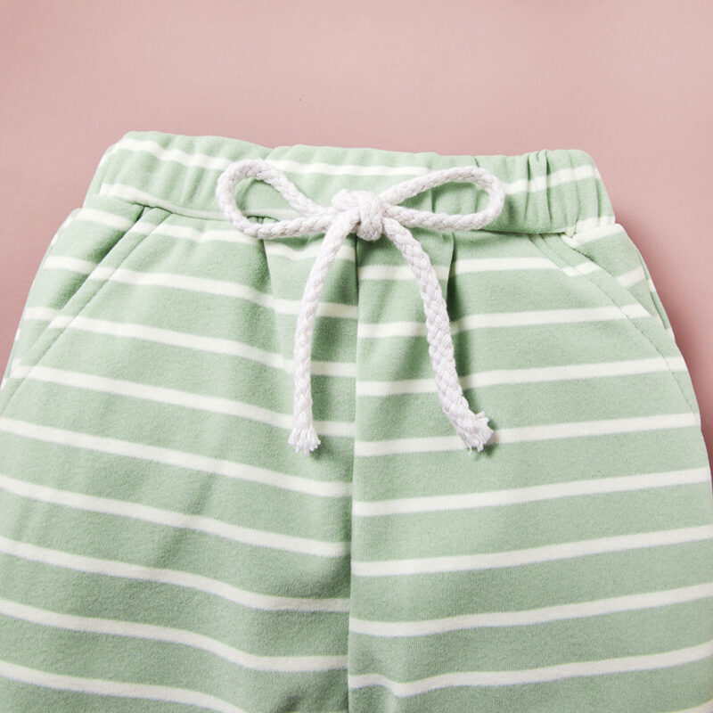 Solid Top and Striped Pants Set