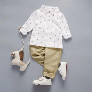 Toddler Boy Anchor Print Long-sleeve Shirt and Pants Set