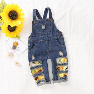 Sunflower Print Denim Suspender Pants For Girls