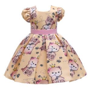 Toddler Girl Adorable Bear Print Party Dress