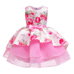 Baby / Toddler Girl Pretty Floral Print Tulle Party Dress