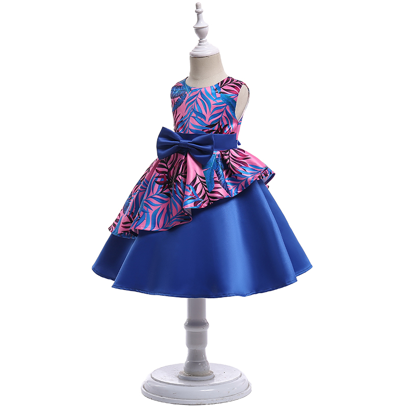 Baby / Toddler Girl Stylish Leaf Print Layered Bowknot Party Dress