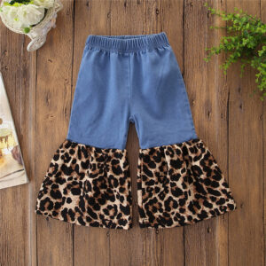 Leopard Print Denim Bellbottom Pants
