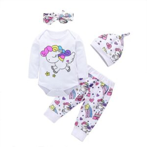 3-piece Unicorn Print Top and Pants Set