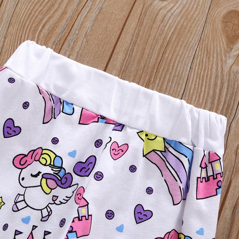 3-piece Unicorn Print Top and Pants Set