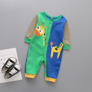 Baby Animal Print Color Block Jumpsuits