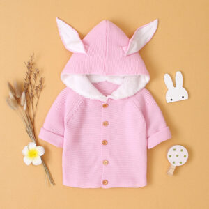Baby Warm Cute Rabbit Ear Fur Lined Sweater