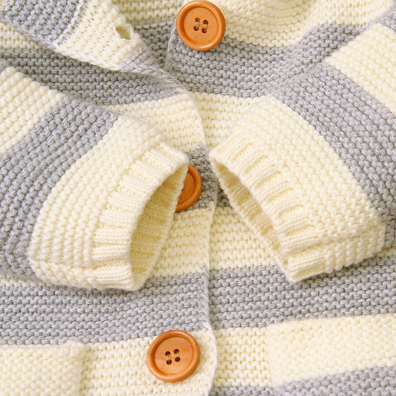 Baby Cute Knitted Striped Button Sweater with Pocket