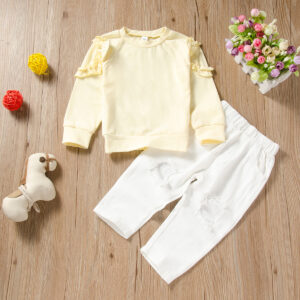 2-piece Baby / Toddler Girl Casual Solid Ruffled Top and Pants Set