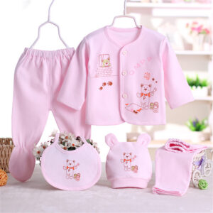 5-piece Bear Print Top and Pants Set
