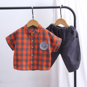Plaid Short-sleeve Shirt and Pants Set