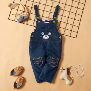 Bear Print Denim Suspender Pants (no shoes)