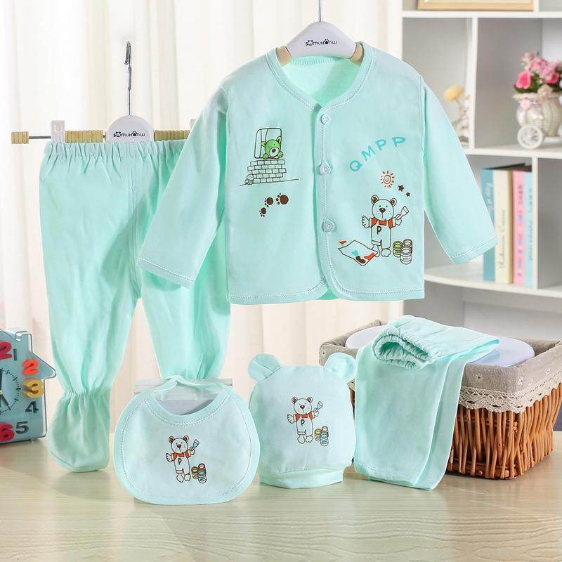 5-piece Bear Print Top and Pants Set